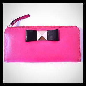 🌷Kate Spade HOT Pink Bow Tie Zip Wallet